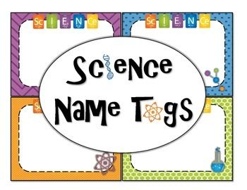 These tags are a vibrant way to categorize your science room.  They can be used to label lab supplies, desks, or notebooks.