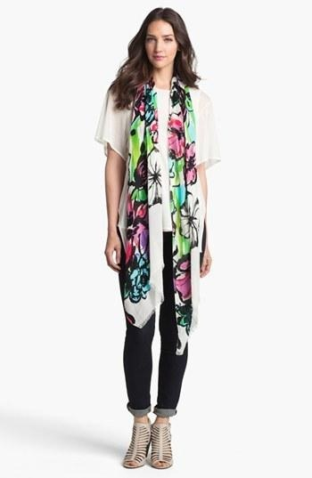 Vivid, exploded blooms brighten a gauzy scarf edged in soft eyelash fringe. Color(s): daytona fuchsia, shore blue, white bright. Brand: MADE OF ME ACCESSORIES. Style Name: Made of Me.