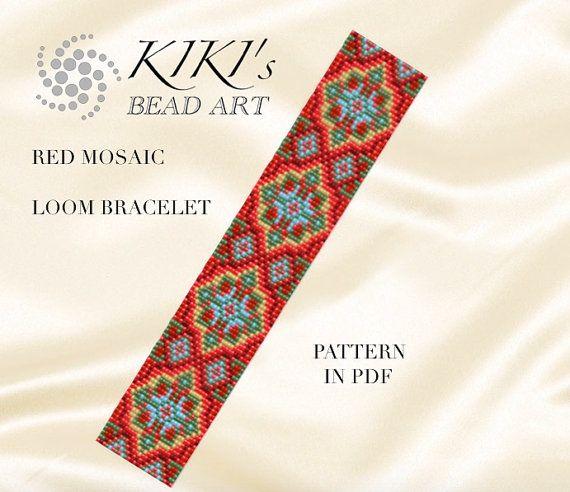 Bead loom pattern - Red mosaic LOOM bracelet pattern in PDF - instant download