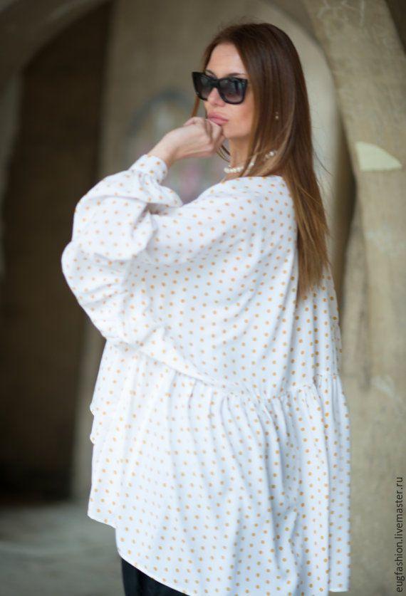 Купить блузку белую в горошек