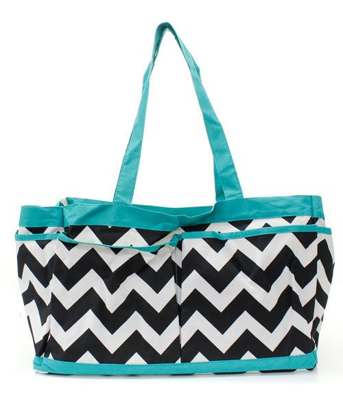 Large Black and White Chevron Tote With Turquoise Trim-Nurse Bag-Teacher Bag- Scrapbooking Tote-Includes Monogram- Chevron on Etsy, $26.95