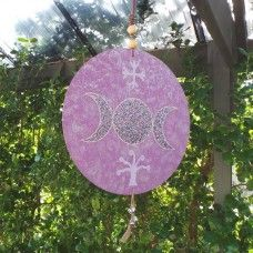 House Symbol/Talisman - Triple Goddess.  This glittering household symbol protects the home and signifies your personal beliefs. The triple Goddess represents the maiden, mother and crone and the waxing, full and waning moon. This represents the stages of a woman's life and the exploration, growth and understanding that occur. This is a symbol of the divine feminine; intuition, empowerment, creative energy, spiritual insight, wisdom and mystery. $39.00au.  Hand crafted made in Australia