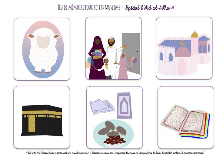 Jeu de mémoire pour petits muslims à imprimer. Free printable for muslim kids. Spécial Eid Al Adhaa