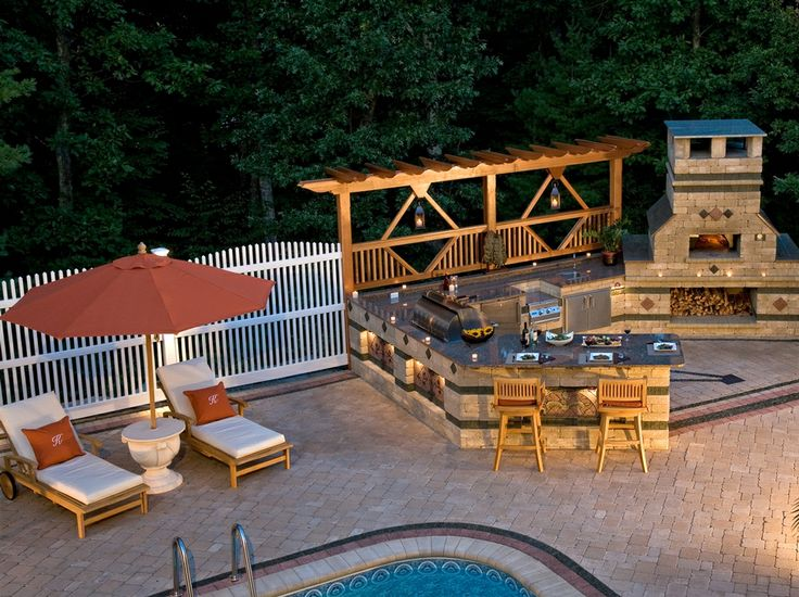 brussels block pool deck with bbq grill island and pizza oven unilock pavers wallstone. Black Bedroom Furniture Sets. Home Design Ideas