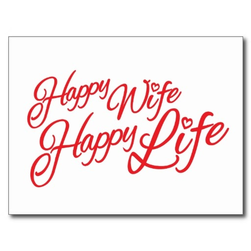 Happy wife happy life quote postcard a new design by www.sarahtrett.com
