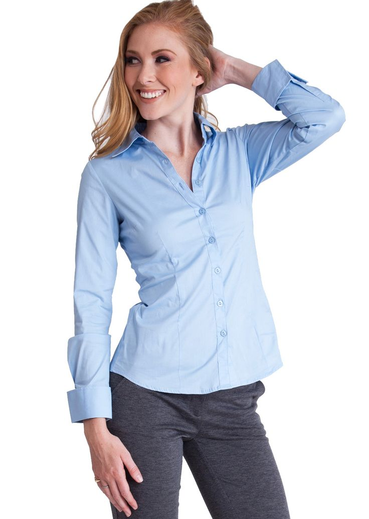 Tailored Long Sleeve Shirt T2936SKY, clothing, clothes, womens clothing, jeans, tops, womens dress