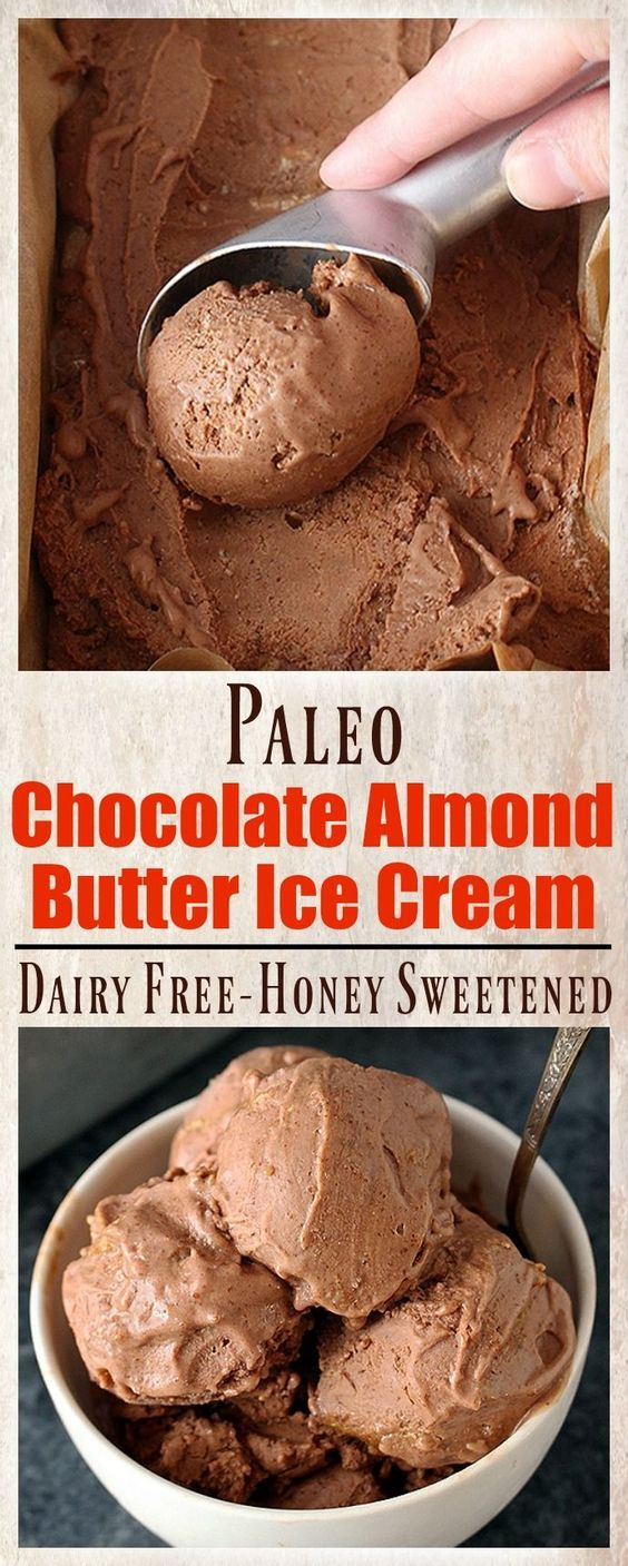 Paleo Chocolate Almond Butter Ice Cream- creamy sweetened with honey and so delicious! Dairy free gluten free only 5 ingredients and a healthy version of the sweet treat.