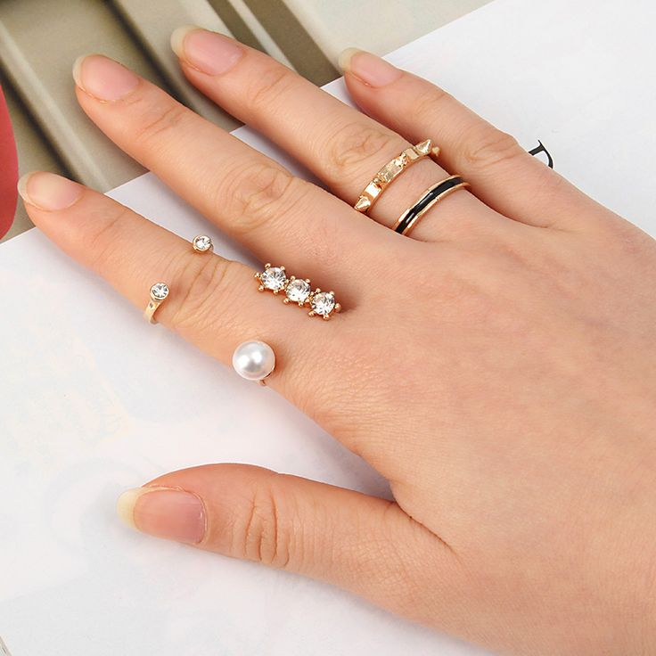 3Pcs Trendy Opening Artificial Pearls Rhinestones Knuckle Rings Sets