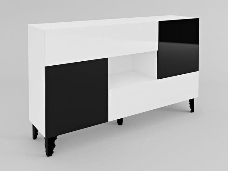 komoda z wnęką A1 #komoda #szafka #szafa #minimalizm #szachownica #glamour #retro #black #white #czarny #biały #meble #nowość #new #czarnobiały #lakier #połysk #shine