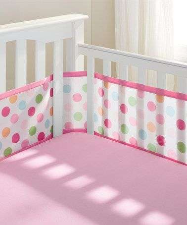 Look what I found on #zulily! Pink Polka Dot Breathable® Mesh Crib Bumper Set by BreathableBaby #zulilyfinds