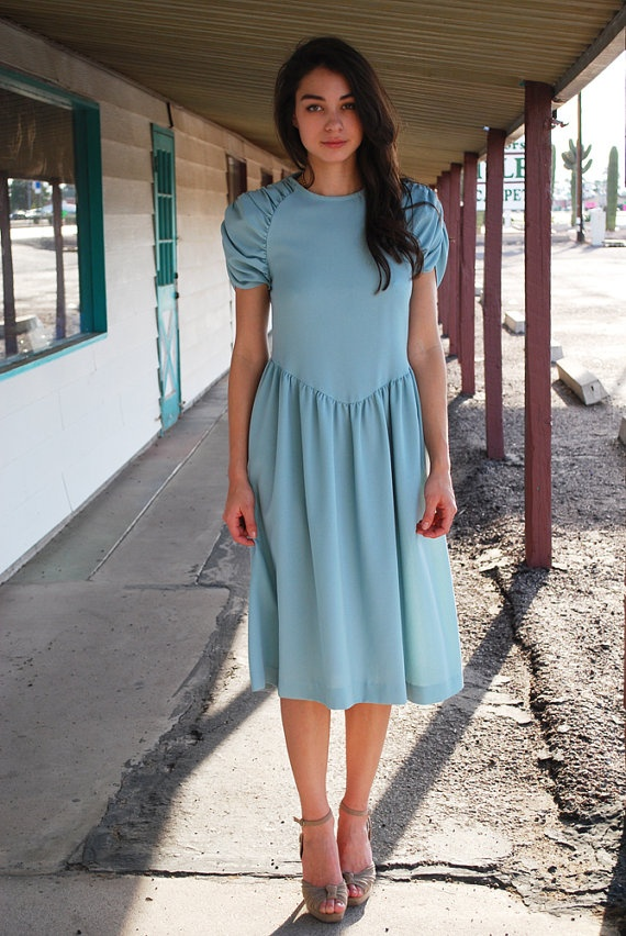 Green Mint Tea Length Dress