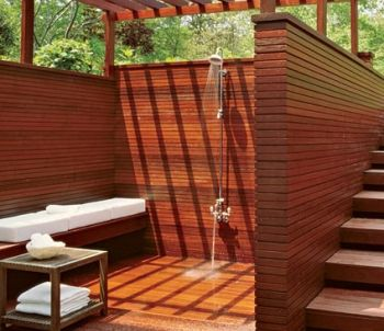 Outdoor shower. You can not go through life as a homeowner in a warm climate without this; it would be sinful.