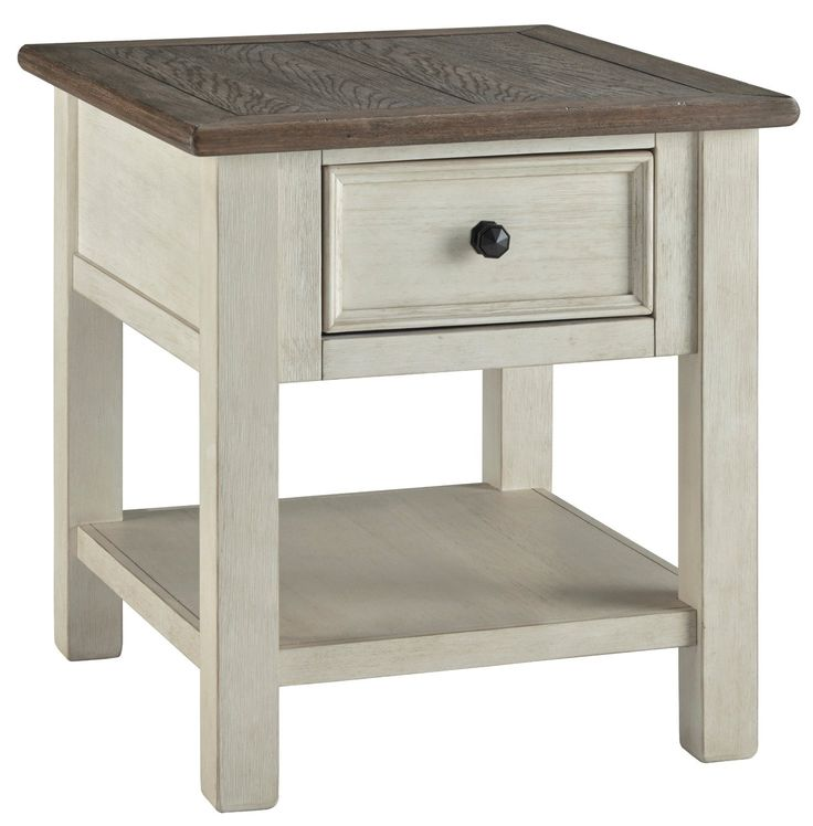 """Top-selling Bolanburg tables from Ashley feature Two-tone finish (weathered oak over antique white) Plank-style top Smooth-gliding drawer Black faceted hardware MATERIAL Select hardwood solids and weathered gray veneer COLOR Grey and antique white DIMENSIONS 24"""" W x 27"""" D x 25"""" H End Tables With Drawers, End Tables With Storage, Living Room Furniture, Home Furniture, Coastal Furniture, Western Furniture, Furniture Outlet, Online Furniture, Table Furniture"""