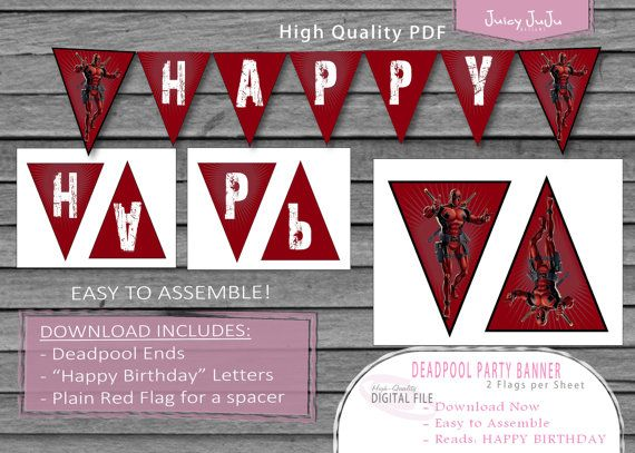 Deadpool Happy Birthday Party Flag Banner  Marvel by juicyJuJu, $1.99