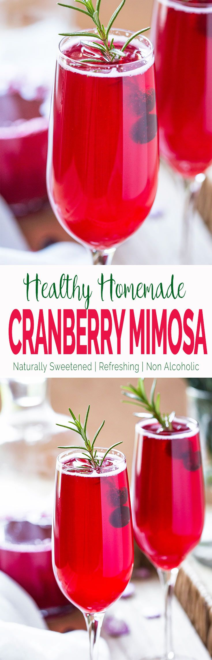This cranberry mimosa recipe calls for freshly made homemade cranberry juice. It is healthy, naturally sweetened, kids friendly that the entire family can enjoy. | #nonalcoholic #cranberry #mimosa #thanksgivingdrinks  via @watchwhatueat