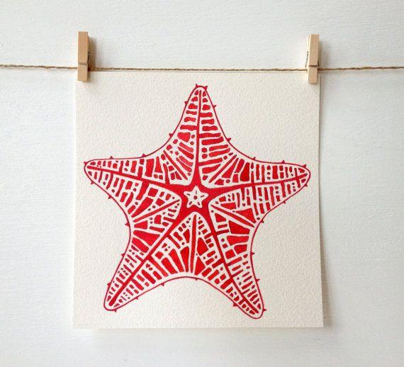 Beach Decor - Starfish Art - Beach Art - Coral - Girls Nursery - Baby Girl - Kitchen Art - Bathroom Art