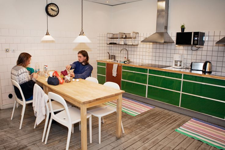 Shared kitchen where we supply free pasta if you are on a budget!