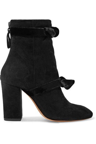 Alexandre Birman - Lorraine Velvet-trimmed Suede Ankle Boots - Black - IT38.5