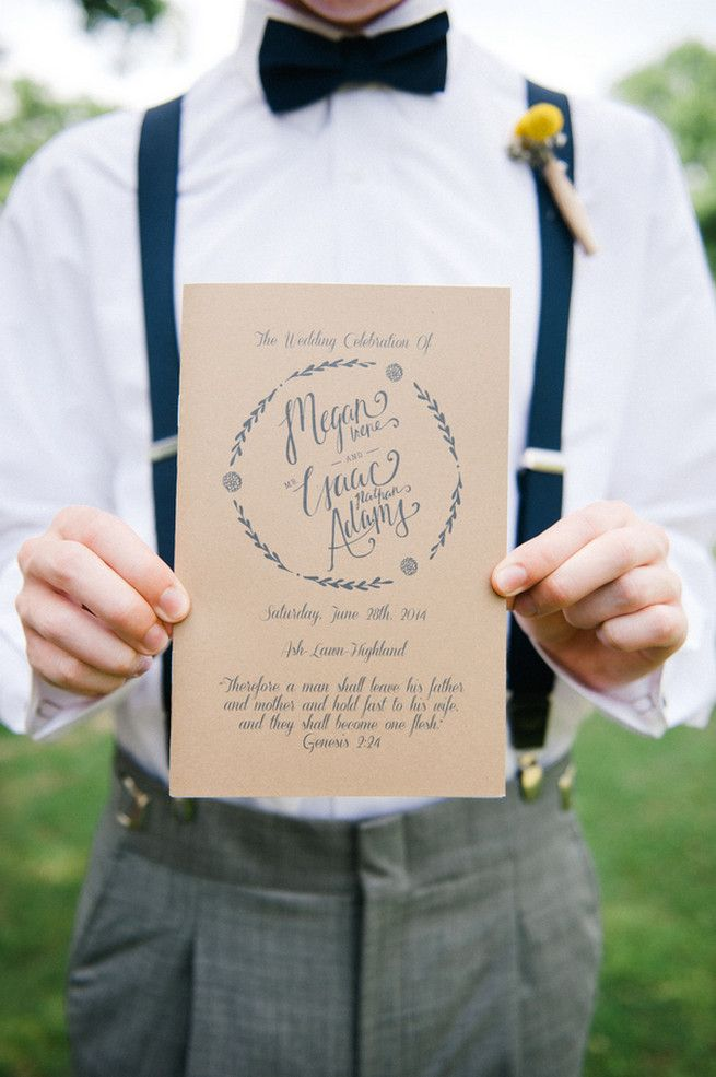 Rustic wedding program. Coral Navy Mustard Wedding / Meredith McKee Photography @meredithmckee
