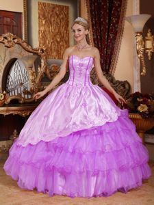 Organza and Taffeta Embroidery Quinceanera Dresses with Ruffles