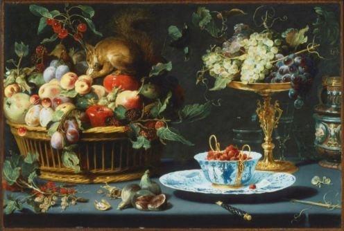 * Frans Snyders - - - Stilleven met fruit, Wan-Li porcelein en een eekhoorn