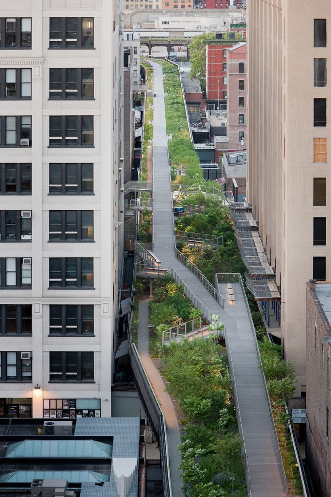 The High Line is a public park built on a historic freight rail line elevated above the streets on Manhattan's West Side. It is owned by the City of New York, and maintained and operated by Friends of the High Line.