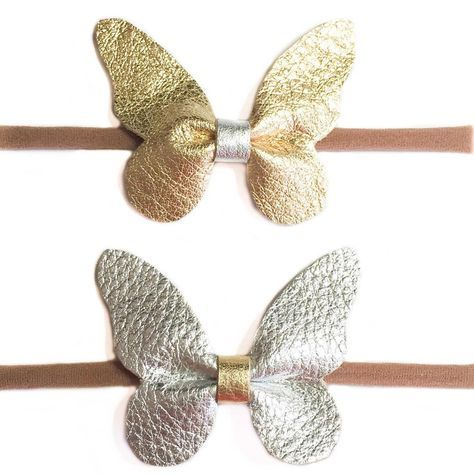 Butterfly leather hair bow