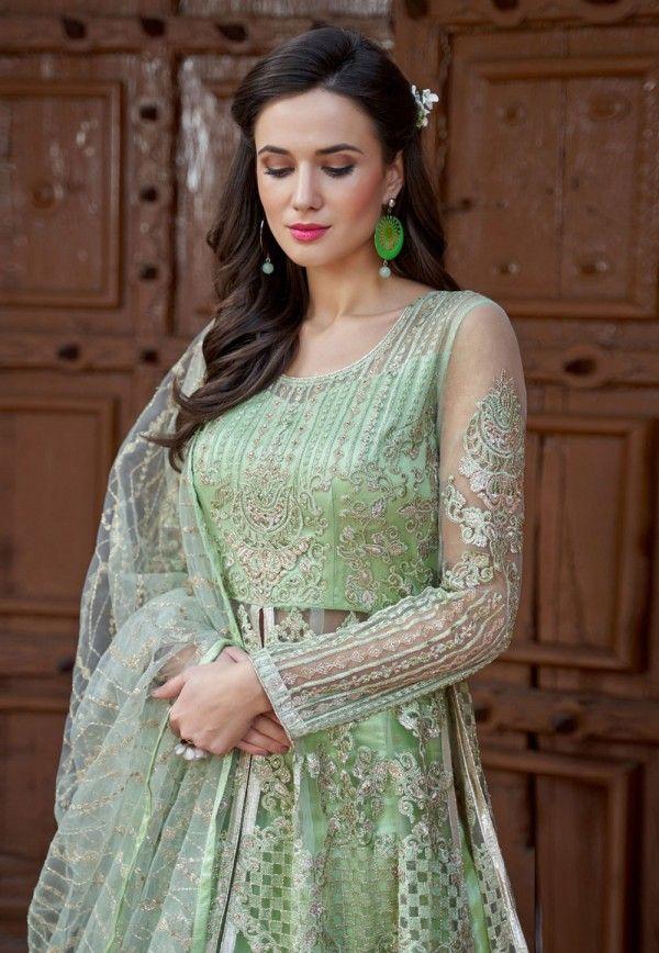 2e365c13a1 Light Green Embroidered Net Anarkali Lehenga Kurti Set in 2019 ...
