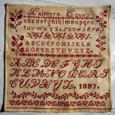 Antique Redwork Sampler Palmyre Couez 1897