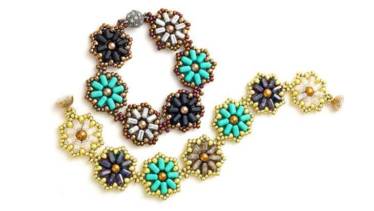 Flowered chexx bead bracelet, free tut on Facet, designed by Aurelio Castano