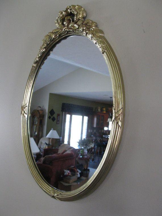 Gorgeous Vintage Homco Wall Mirror   Oval  Gold Frame  Ornate  Regency   Wall Decor  1980u0027s