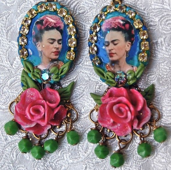 Lilygrace Frida Kahlo Cameo Earrings