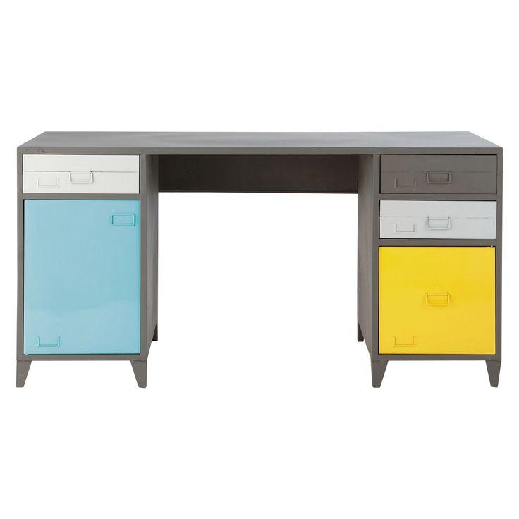 Schreibtisch im Industrial-Stil aus Metall, B 150cm, grau Espace Espace