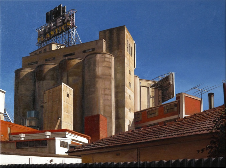 Pumfrey's recent move to Melbourne work inspired him to depict Melbournes' forgotten and dwindling industrial area surrounding the now chic suburb of Port Melbourne.