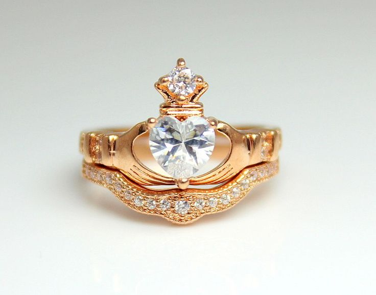 Love this ring set!  Rose Gold Filled Claddagh Ring Set Engagement Irish Celtic Wedding Anniversary Promise Rings Women Cubic Zirconia via ANGELS IRON. Click on the image to see more! $110