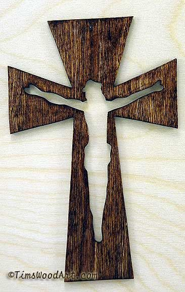 Crucifix Wood Cross, New Handmade, for Wall Hanging or Ornament, Item S3-12