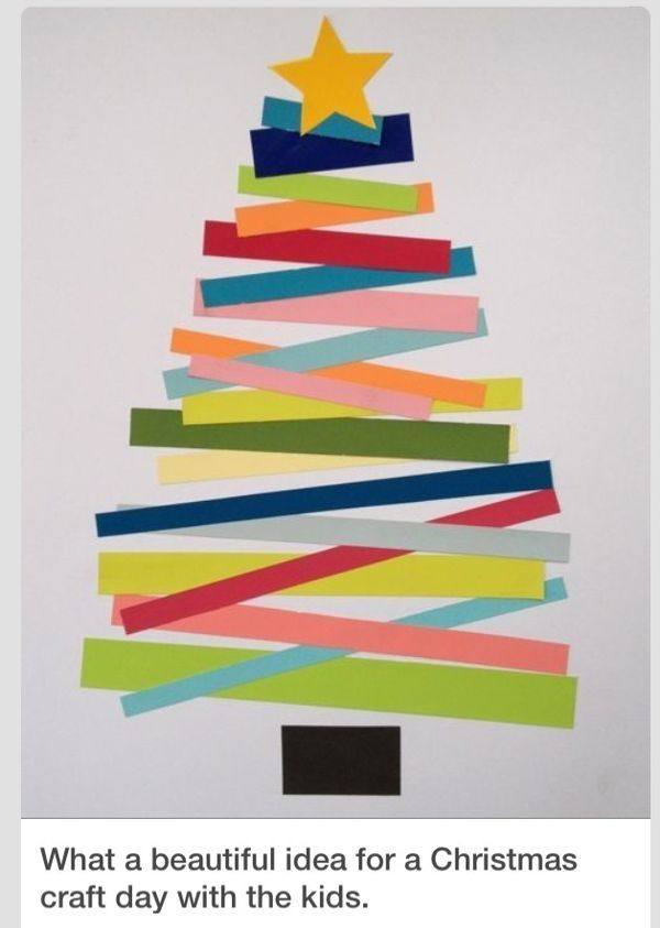 A simple idea for a DIY Christmas card: strips of pretty paper make a Christmas tree.