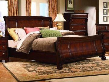 Vaughan Kathy Ireland Home Georgetown Queen Sleigh Bed In Cherry 625 33 Home Furnishings