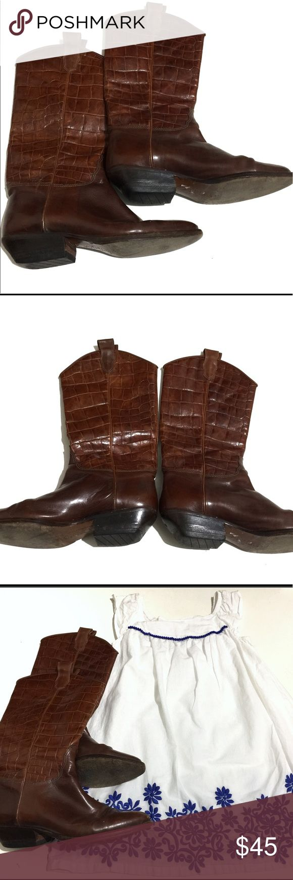 Circa Joan & David Italian Leather Alligator Boots Handmade Italian leather couture western boots for the young cowgirl/cowboy at heart. Pointed ties with blocked heels. Wear on the bottom but otherwise in perfect condition. Joan & David Shoes Boots