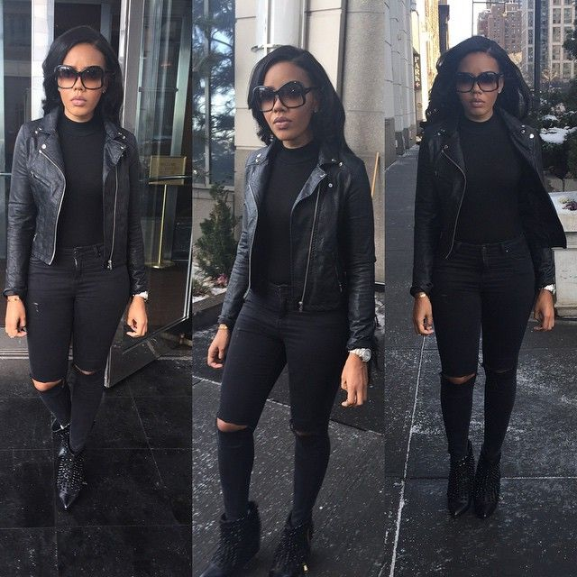 Angela Simmons Celebrity Winter Fashion Dope Swag All Black Everything Urban Style Leather Biker Jacket Ripped Denim Jeans Pointy Ankle Boots Stylish Fashionista