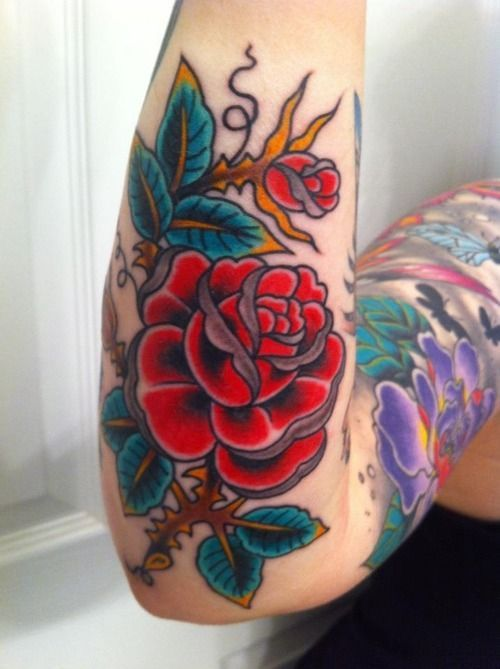 traditional rose tattoo | Tumblr: