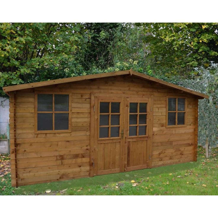 Abri 16m en bois autoclav teint marron 28mm gardy for Abri de jardin trigano