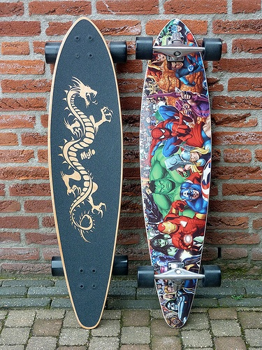 Custom pintail with lasercut grip tape and action heroes topsheet