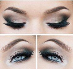 modèle maquillage yeux bleus gris