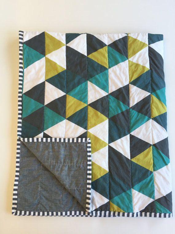 Emerald teal navy modern baby quilt | triangle quilt | woodland nursery | nautical nursery | by WilderAndBean