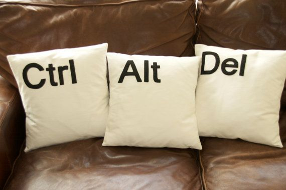 Ctrl Alt Del Computer key cushion pillow by GoldenDesignBoutique