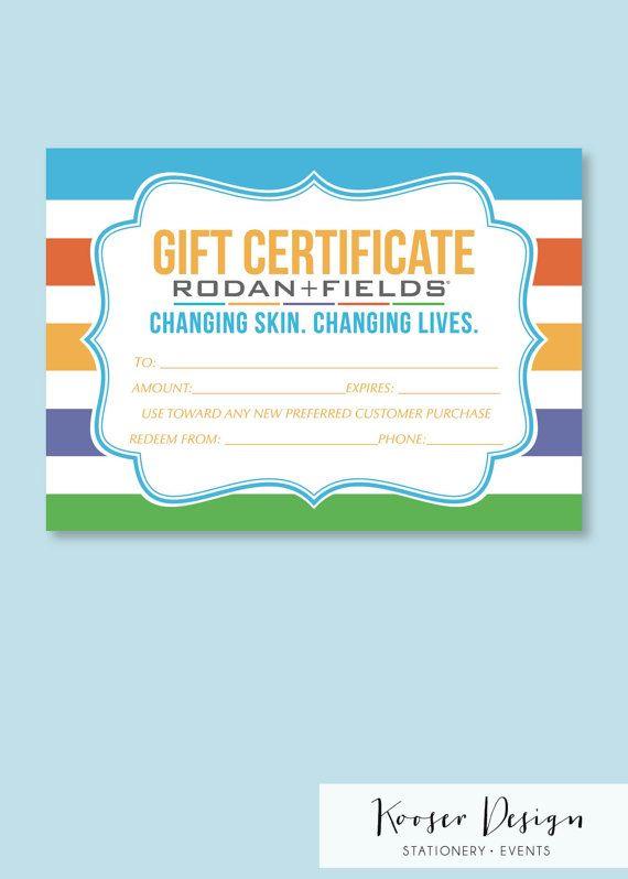 Rodan and Fields Gift Certificate 5 x 7in. by KooserDesign on Etsy