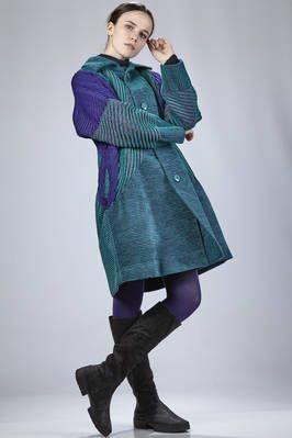 Issey Miyake | knee-length coat in multicolored polyurethane, nylon, cotton and polyester velvet | #isseymiyake