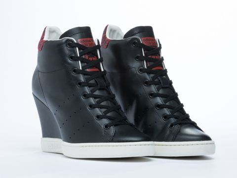 37cc5d29f7f Adidas Originals Stan Smith Up Wedge Sneakers in Black at Solestruck.com