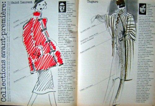 Paletot en velours à col chinois pour Yves Saint Laurent, page de gauche